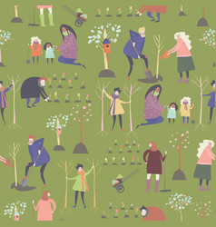 seamless pattern with cartoon people are vector image