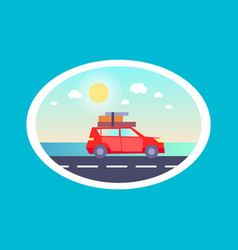 Sedan car luggages top going holiday rest vector