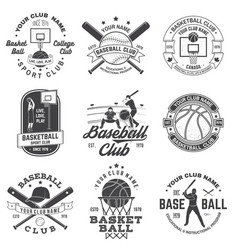 set basketball and baseball badge emblem vector image