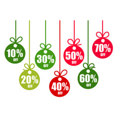 set of discount tags 10203040506070 percent vector image