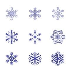 Set of nine snowflake flat icons 2 vector