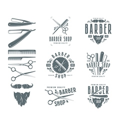 Set of vintage barber shop badges vector