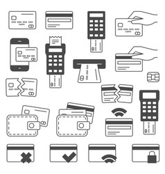 simple set of credit card related line icons vector image