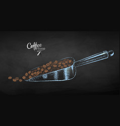 Sketch of metal coffee scoop with beans vector
