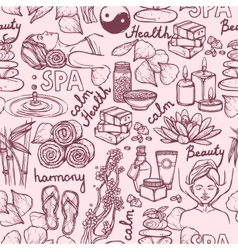Spa sketch seamless pattern vector image