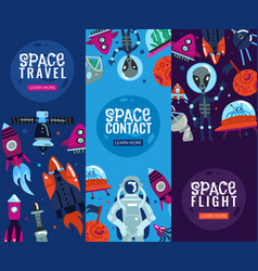 Space travel vertical banners vector