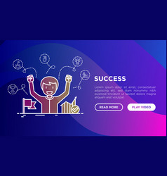 success concept smiling man with hands raised vector image