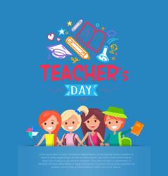 Teachers day blue placard vector