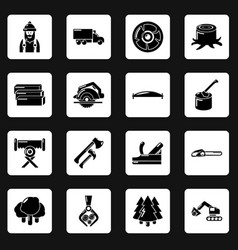 timber industry icons set simple style vector image