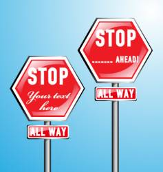 two stop signs vector image vector image