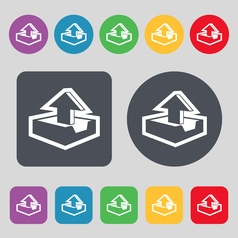 Upload icon sign A set of 12 colored buttons Flat vector image