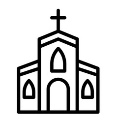 Village church icon outline style vector