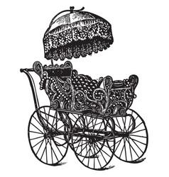 vintage baby stroller vector image