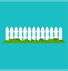 white wooden fence and grass vector image