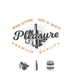 Wine shop logo template concept wine bottle vine vector