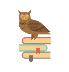 Wise owl sitting on the stack of books education vector