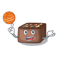 With basketball character cartoon almond cake with vector