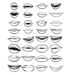 big hand drawn set of outline lips vector image vector image