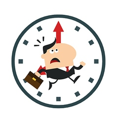 Businessman Running Past a Clock Cartoon vector image vector image