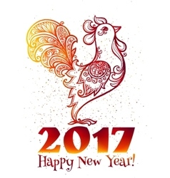 Red fiery colors hand drawn ornate rooster with vector image