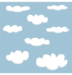 White clouds on light blue sky background set vector image