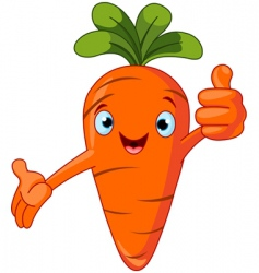 carrot character giving thumbs up vector image vector image