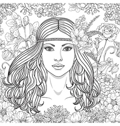 girl hippie outline vector image vector image