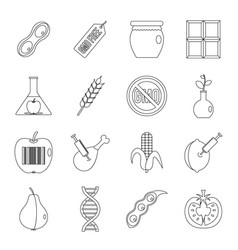 gmo icons set food outline style vector image vector image