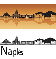Naples skyline in orange background vector image