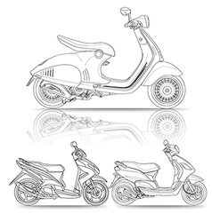 outline scooter vector image