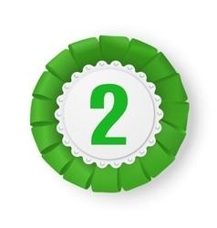 Realistic green fabric award ribbon badge vector image