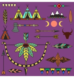 Set of ethnic american indians objects vector image vector image