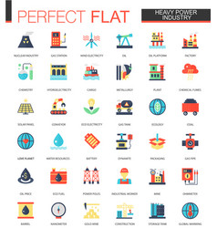 set of flat heavy power industry icons vector image vector image