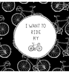 Bicycle Hand Drawn Card Black and White Colors vector image