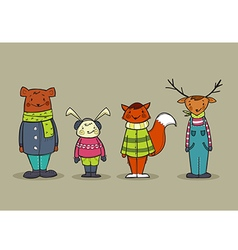 Cute animals in clothes vector image vector image