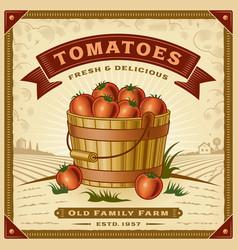 retro tomato harvest label with landscape vector image vector image
