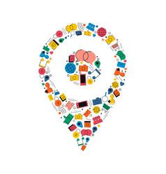 social media gps location pin concept icon design vector image vector image