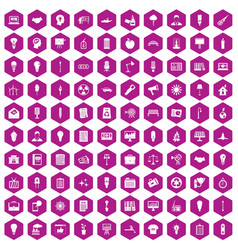100 lamp icons hexagon violet vector
