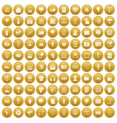 100 tv icons set gold vector