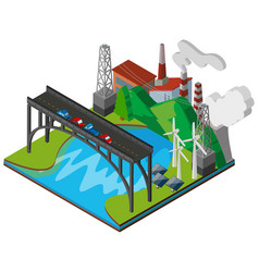 3d design of power plant and road vector image