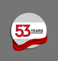 53 years anniversary design in circle red ribbon vector