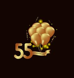 55 year anniversary gold balloon template design vector