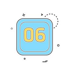 6 date calender icon design vector image