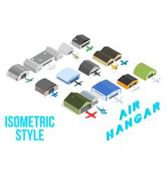air hangar concept icons set isometric style vector image