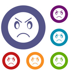 annoyed emoticons set vector image