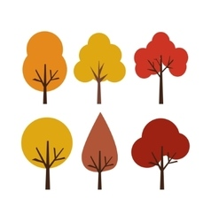 autumn trees isolated on white vector image