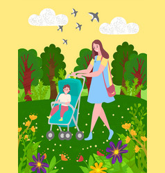 Baby in stroller and mother walking in green park vector