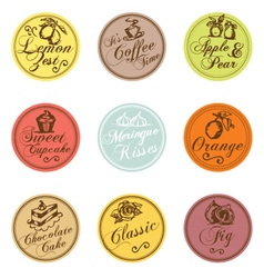 Bakery shop colorful tags collection vector