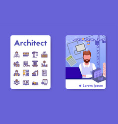 Banner architect with linear icons set vector