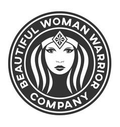 beautiful warrior woman logo vector image